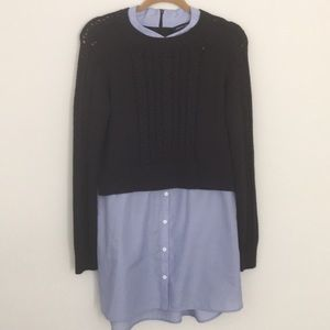 French Connection Combined Sweater Button-Down Top